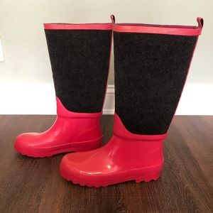 J. CREW RAIN BOOTS IN PINK AND GRAY SIZE 9